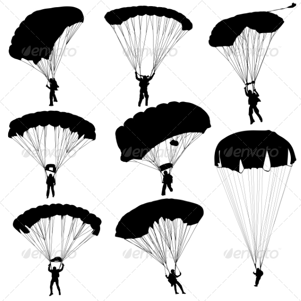 GraphicRiver Parachuting Silhouettes 6880095