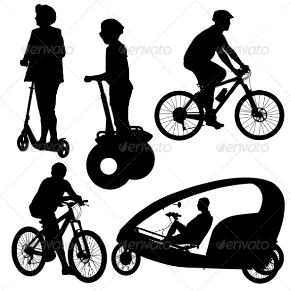 GraphicRiver Cyclist Silhouettes 6880100