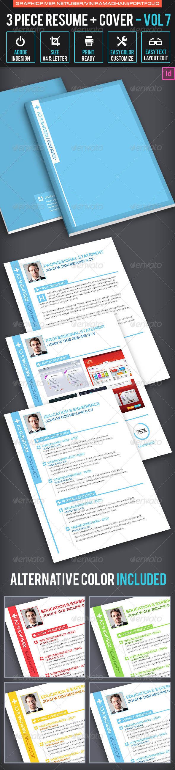 GraphicRiver 3 Piece Resume And Cover Volume 7 6881447