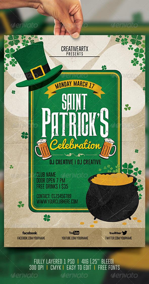 GraphicRiver Vintage St Patrick s Celebration Flyer 6881922