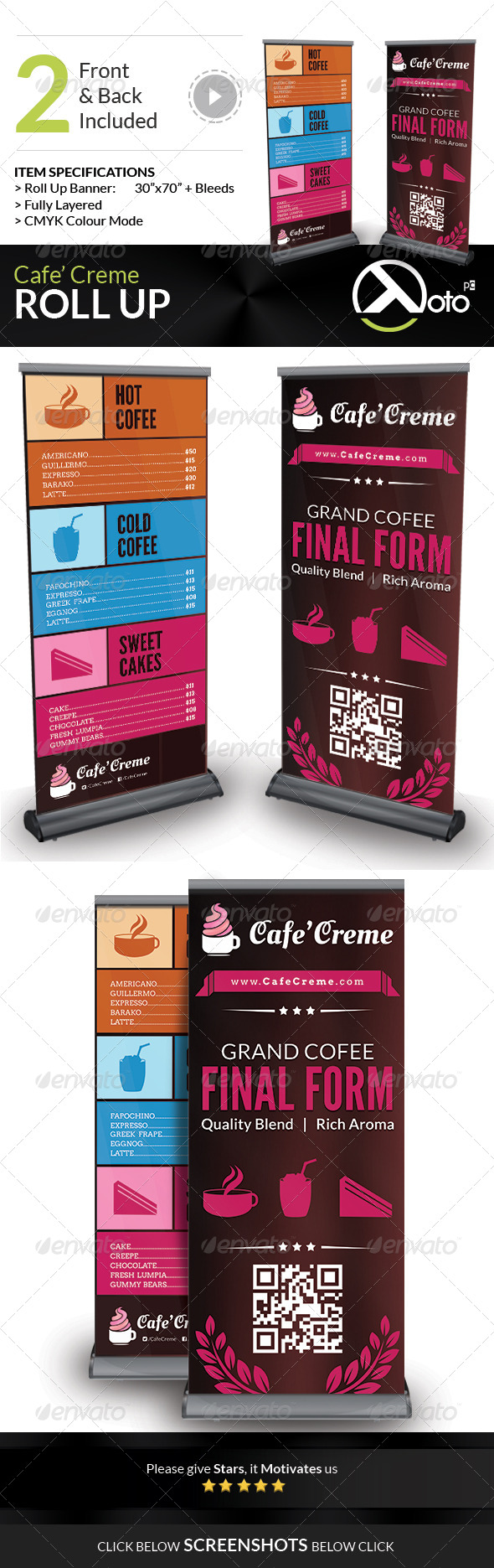Cafe Creme Roll Up Banners - Signage Print Templates