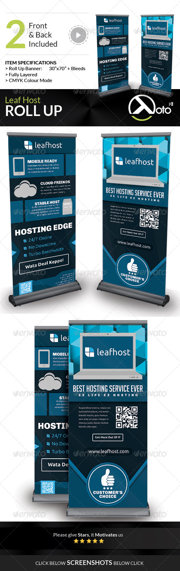 Leaf Host Roll Up Banners - Signage Print Templates
