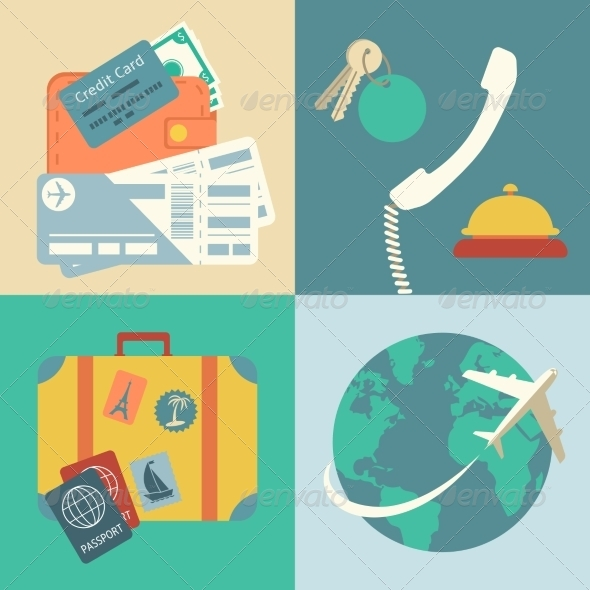 Vacation Travel Icons Set