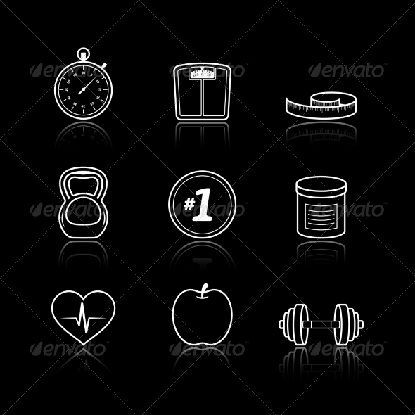 GraphicRiver Fitness Sport Wellness Healthcare Icons Set 6882285