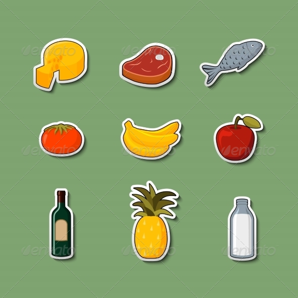 GraphicRiver Supermarket Foods Items on Stickers 6882291