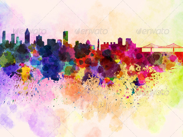 Montreal skyline in watercolor background - Stock Photo - Images