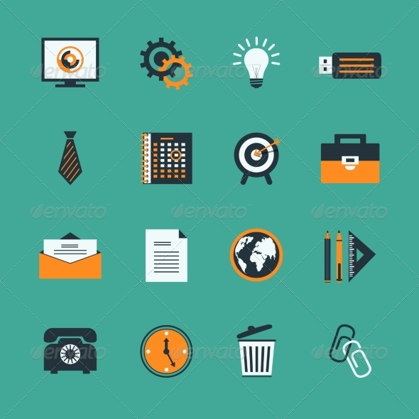 GraphicRiver Business Office Stationery Icons Set 6882986