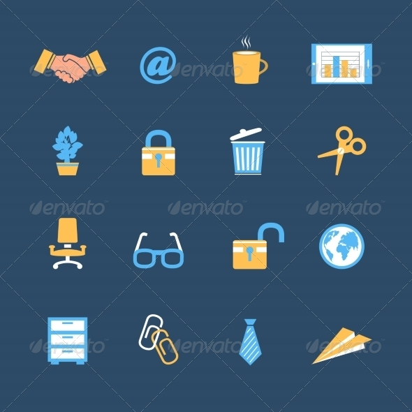 GraphicRiver Business Office Stationery Icons Set 6882988