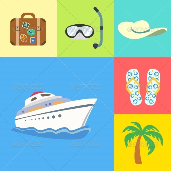 GraphicRiver Vacation Holidays and Travel Icons Set 6883000