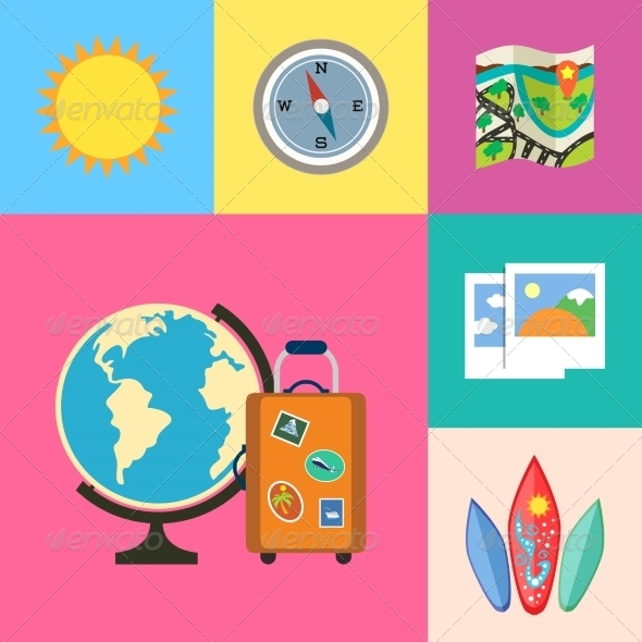 GraphicRiver Vacation Holidays and Travel Icons Set 6883002