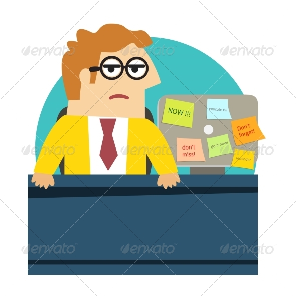 GraphicRiver Worried Angry Office Worker at the Desk 6883045