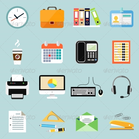 GraphicRiver Business Office Stationery Icons Set 6883070