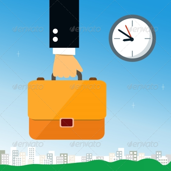 GraphicRiver Business Hand Holding Briefcase 6883092