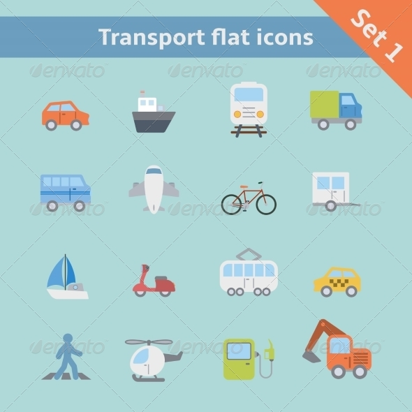 GraphicRiver Transportation Flat Icons Set 6883196