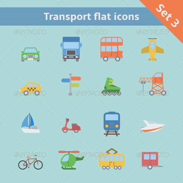 GraphicRiver Transportation Flat Icons Set 6883198
