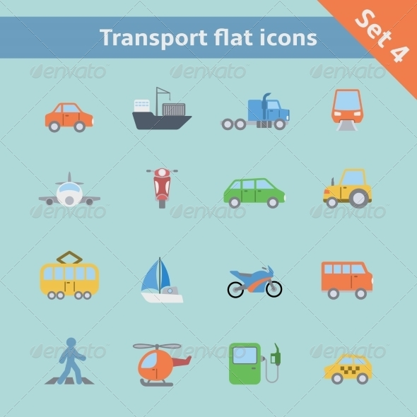GraphicRiver Transportation Flat Icons Set 6883199