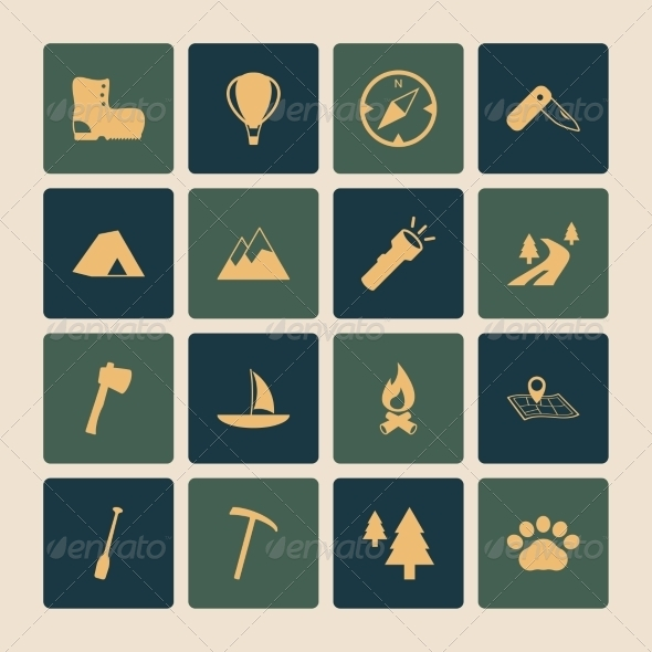 GraphicRiver Outdoors Tourism Camping Flat Icons Set 6883202
