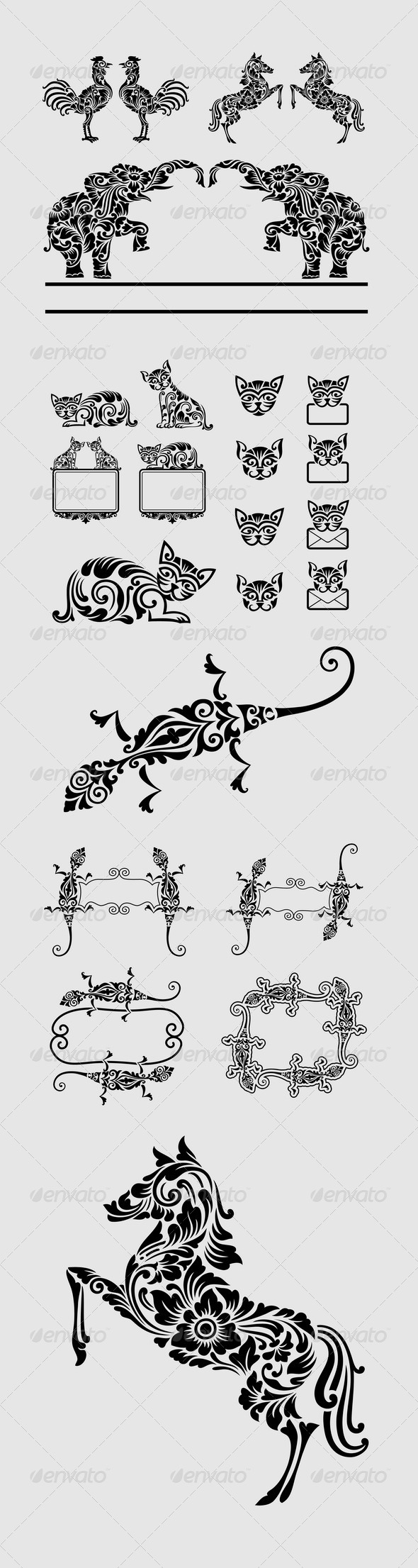 GraphicRiver Animal Floral Ornament Decorations 6883217