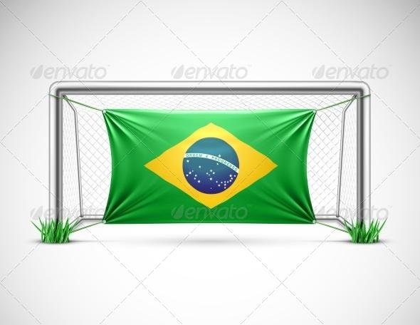 Soccer Goal with Flag Brazil