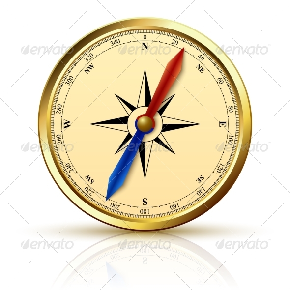 Navigation Compass Golden Emblem