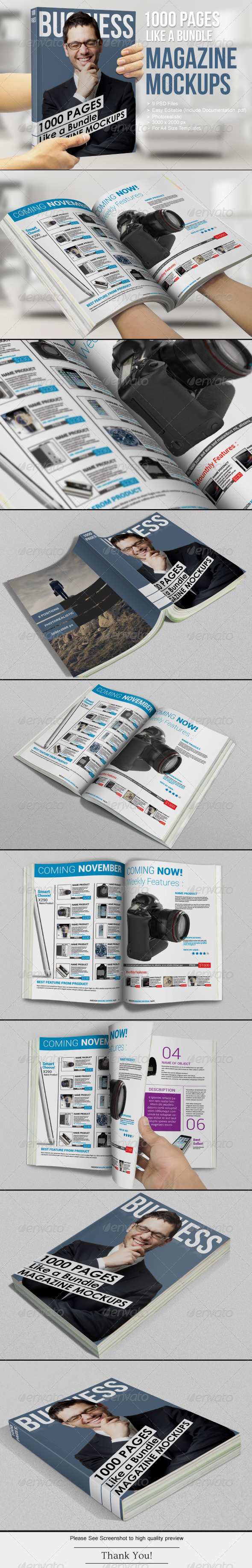 GraphicRiver 1000 Pages Magazine Mockups 6883488