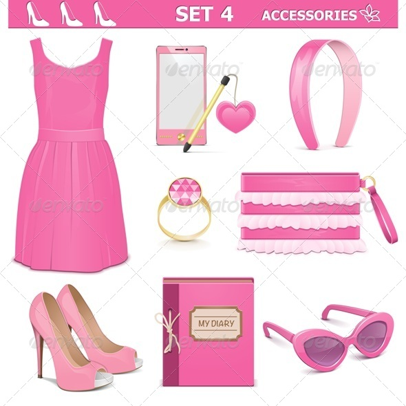 GraphicRiver Vector Female Accessories Set 4 6883505