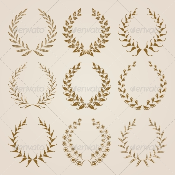 GraphicRiver Set of Vector Gold Laurel Wreaths 6883510