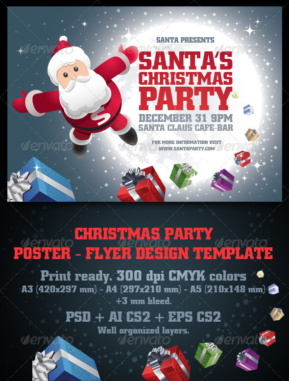 Santa s Christmas Party Poster & Flyer Set