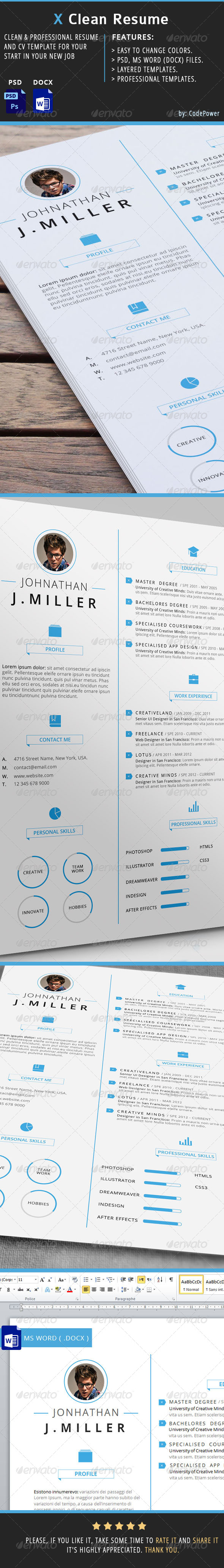 GraphicRiver X Clean Resume 6883758