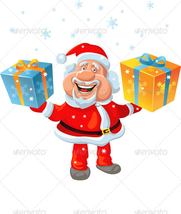 A Happy Santa Claus Holding a Gift