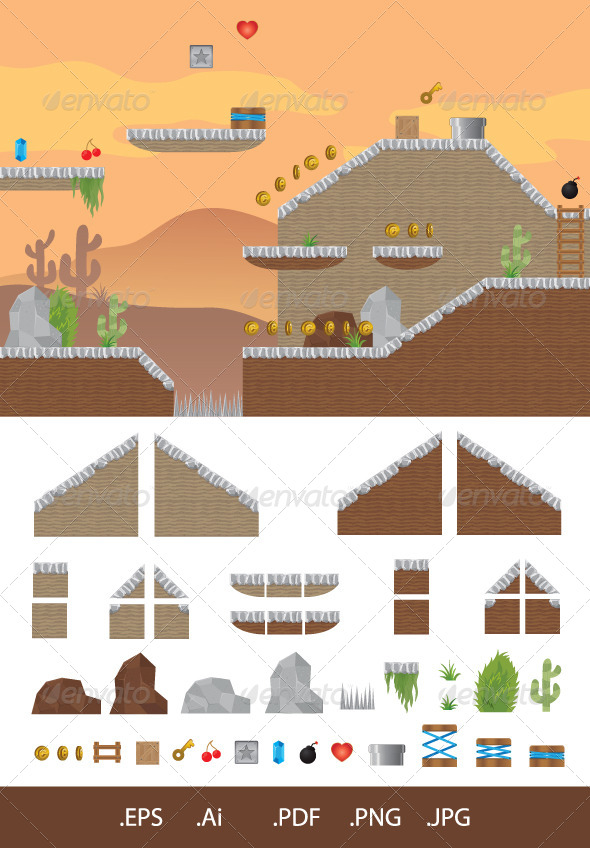 GraphicRiver Platform Game Western 6884308
