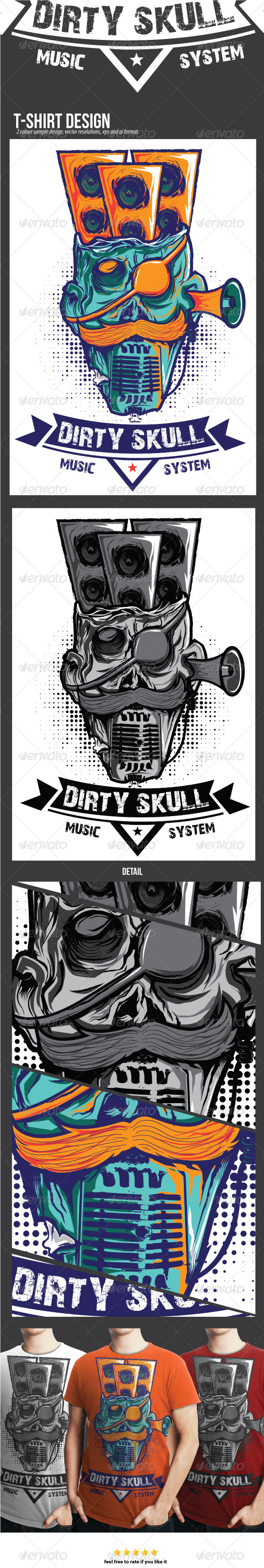 GraphicRiver Dirty Skull Music System T-shirt Design 6706880