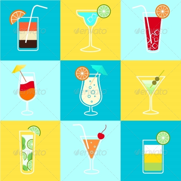 GraphicRiver Cocktails Party Icons Set 6884489