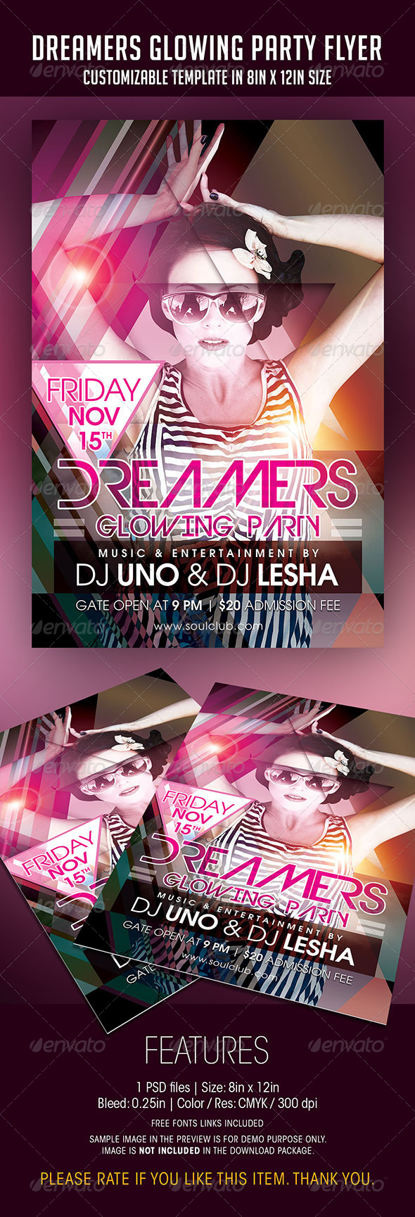 Dreamers Glowing Party Flyer - Clubs & Parties Events