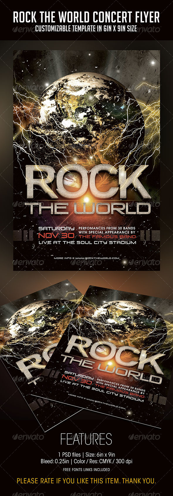 Rock The World Concert Flyer - Concerts Events