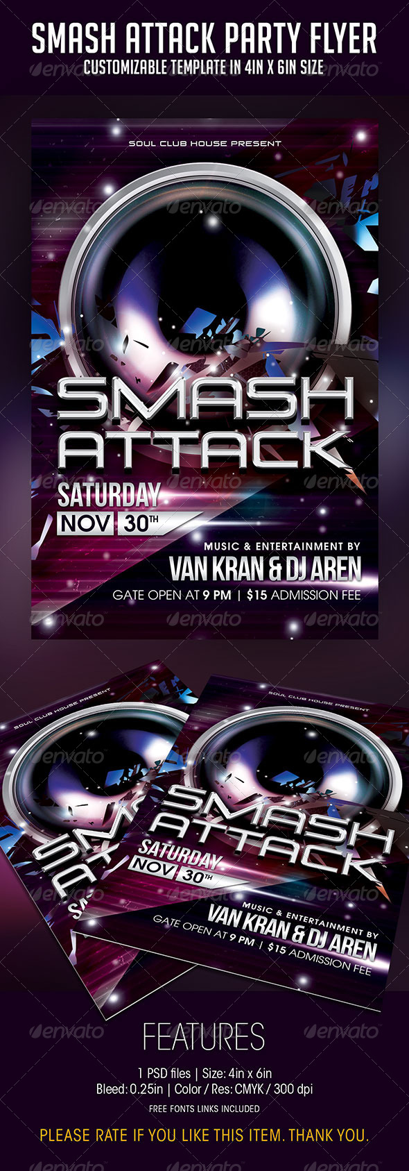 Smash Attack Party Flyer - Clubs & Parties Events