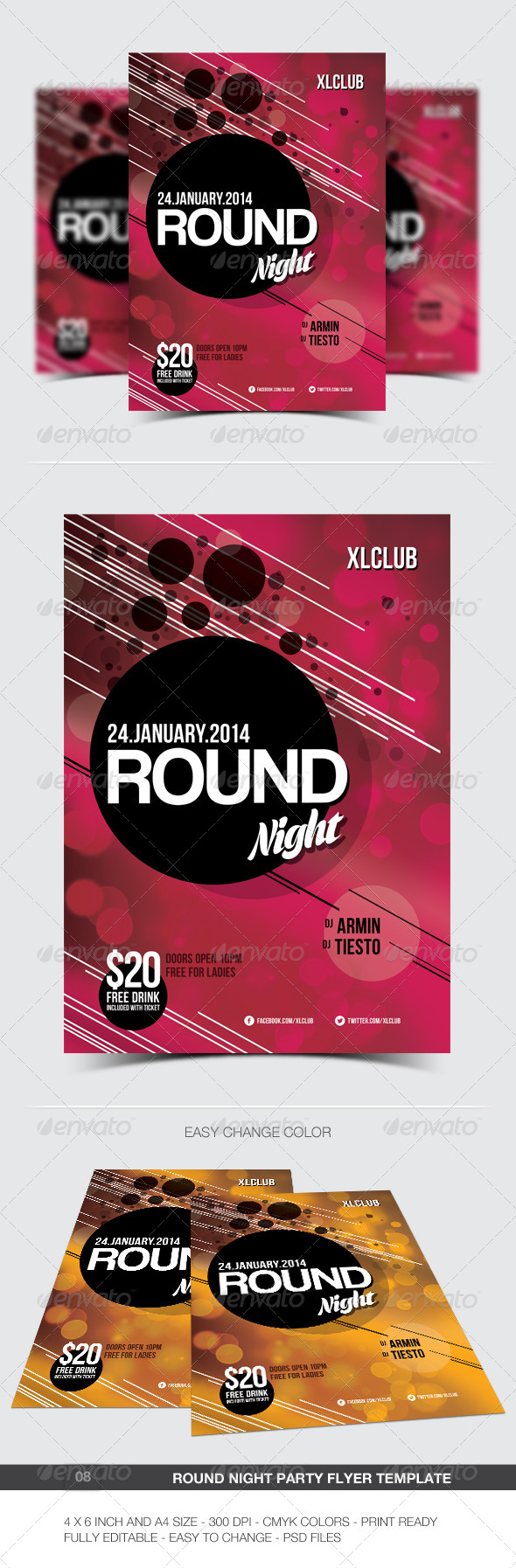 Round Night Party Flyer Poster 08