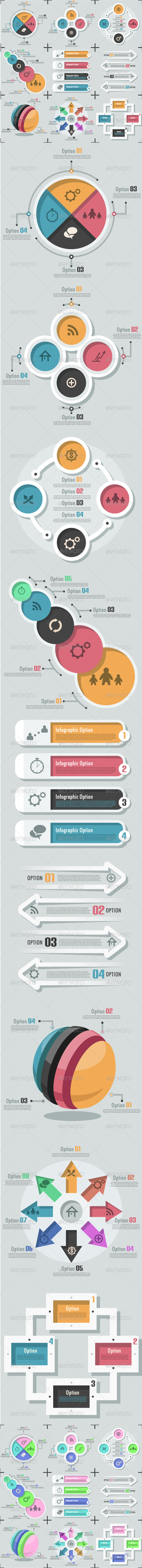 GraphicRiver Set Of 9 Flat Infographic Options Templates 6885473