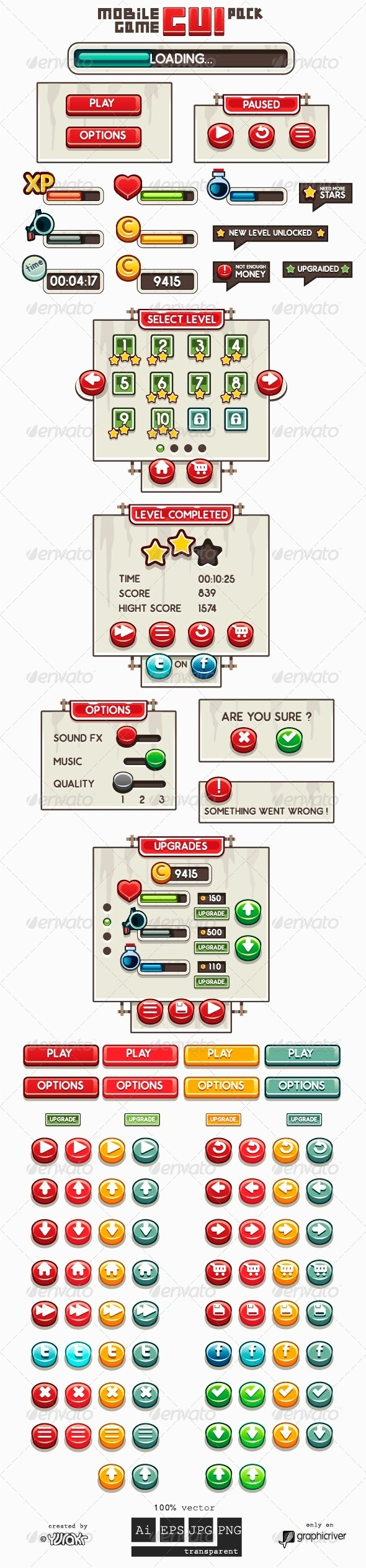 GraphicRiver Mobile Game GUI Pack 6886095