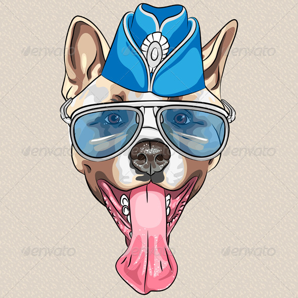 Vector Cartoon Hipster Dog American Akita - Animals Characters