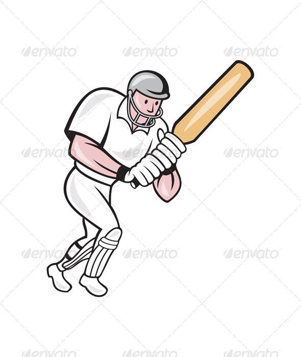 GraphicRiver Cricket Player Batsman Batting Cartoon 6886605