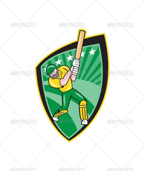 GraphicRiver Australia Cricket Player Batsman Batting Shield 6886610