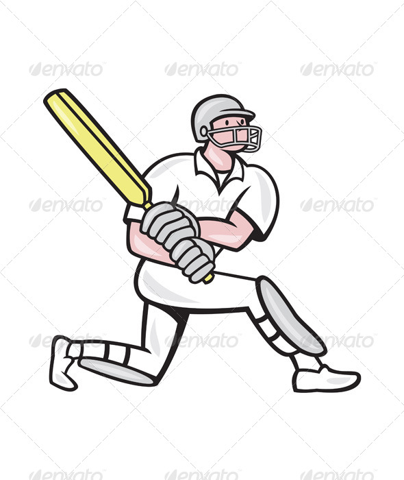 GraphicRiver Cricket Player Batsman Batting Kneel Cartoon 6886614