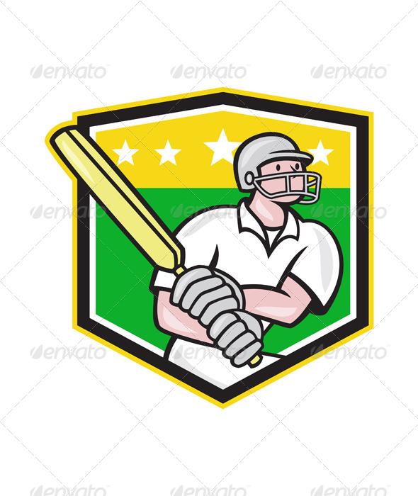 GraphicRiver Cricket Player Batsman Batting Shield Star 6886619