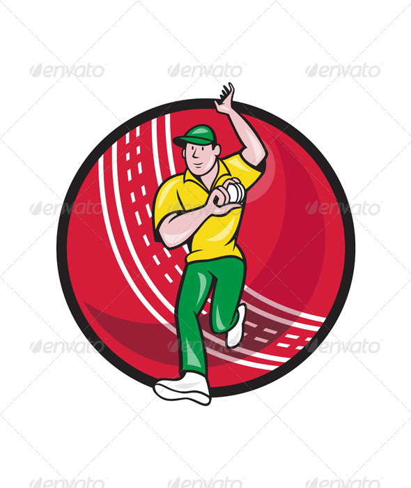 GraphicRiver Cricket Fast Bowler Bowling Ball Front Cartoon 6886662