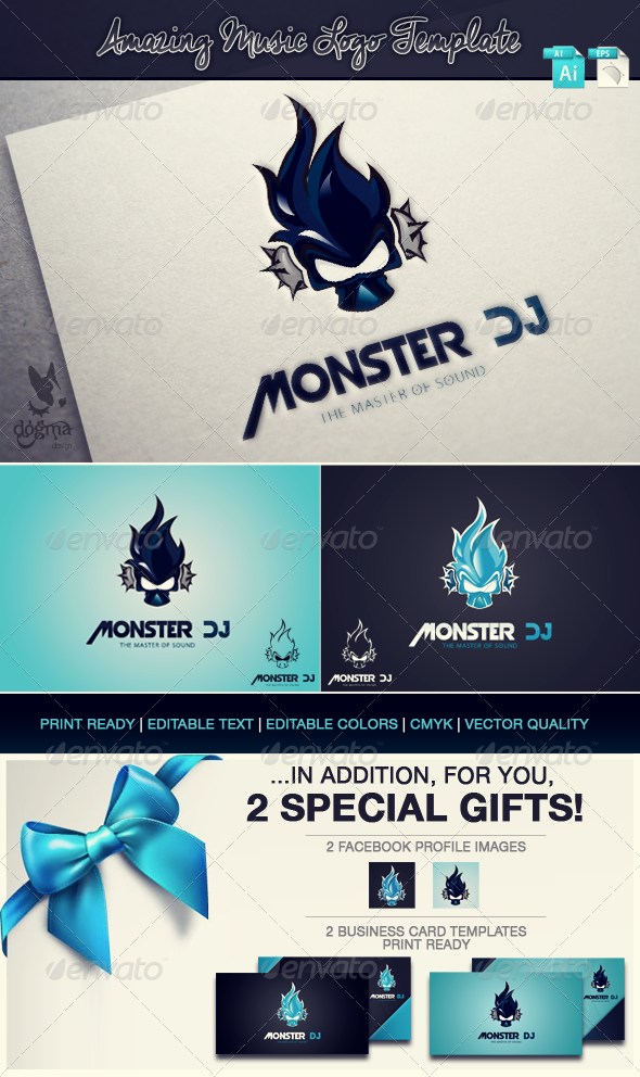 GraphicRiver Amazing Music Logo Template Monster Dj 6843179