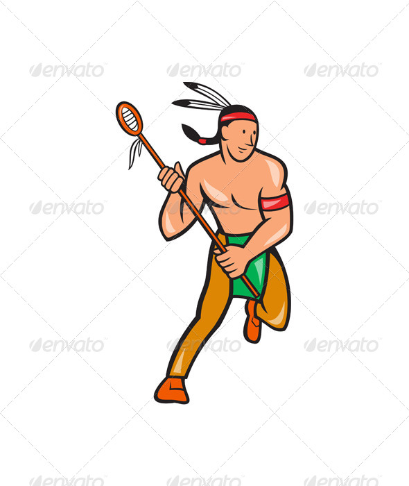 GraphicRiver Native American Lacrosse Player Cartoon 6886803