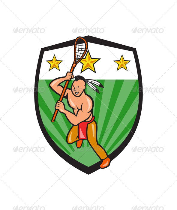 GraphicRiver Native American Lacrosse Player Shield 6886851