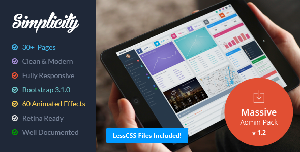 ThemeForest Simplicity Responsive Massive Admin Pack 6862788