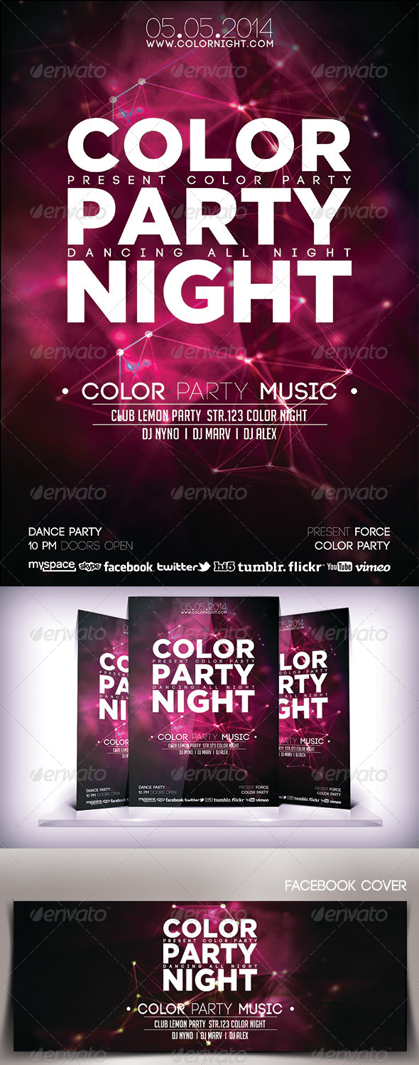 GraphicRiver Color Party Night Flyer 6887486